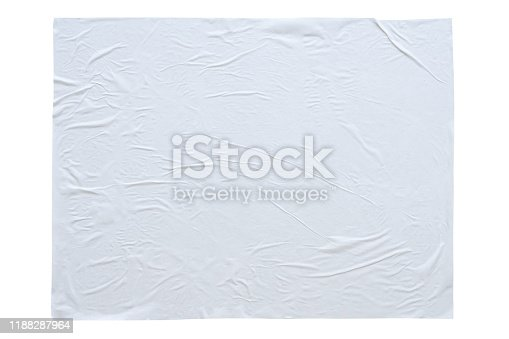 1173163236istockphoto Blank white crumpled and creased sticker paper poster texture isolated on white background 1188287964