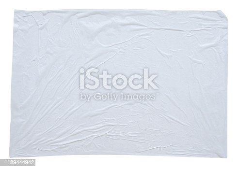 1173163236istockphoto Blank white crumpled and creased sticker paper poster texture isolated on white background 1189444942