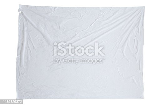 1173163236istockphoto Blank white crumpled and creased sticker paper poster texture isolated on white background 1189829372