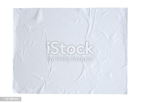 1173163236istockphoto Blank white crumpled and creased sticker paper poster texture isolated on white background 1191982521