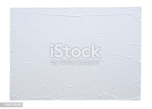 1173163236istockphoto Blank white crumpled and creased sticker paper poster texture isolated on white background 1198133452