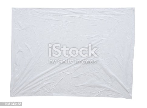 1173163236istockphoto Blank white crumpled and creased sticker paper poster texture isolated on white background 1198133453