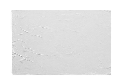 istock Blank white crumpled and creased sticker paper poster texture isolated on white background 1208171687
