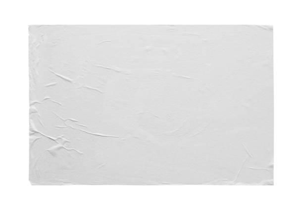 blank white crumpled and creased sticker paper poster texture isolated on white background - sticky stock pictures, royalty-free photos & images