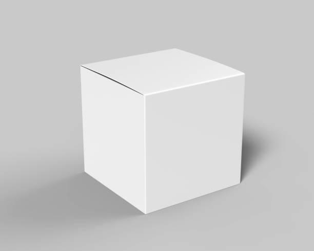 leere weiße würfel produkt verpackung papier karton. 3d render-illustration. - kreativer speicher stock-fotos und bilder