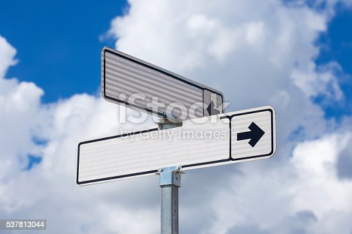 185884645 istock photo Blank white directional road signs 537813044