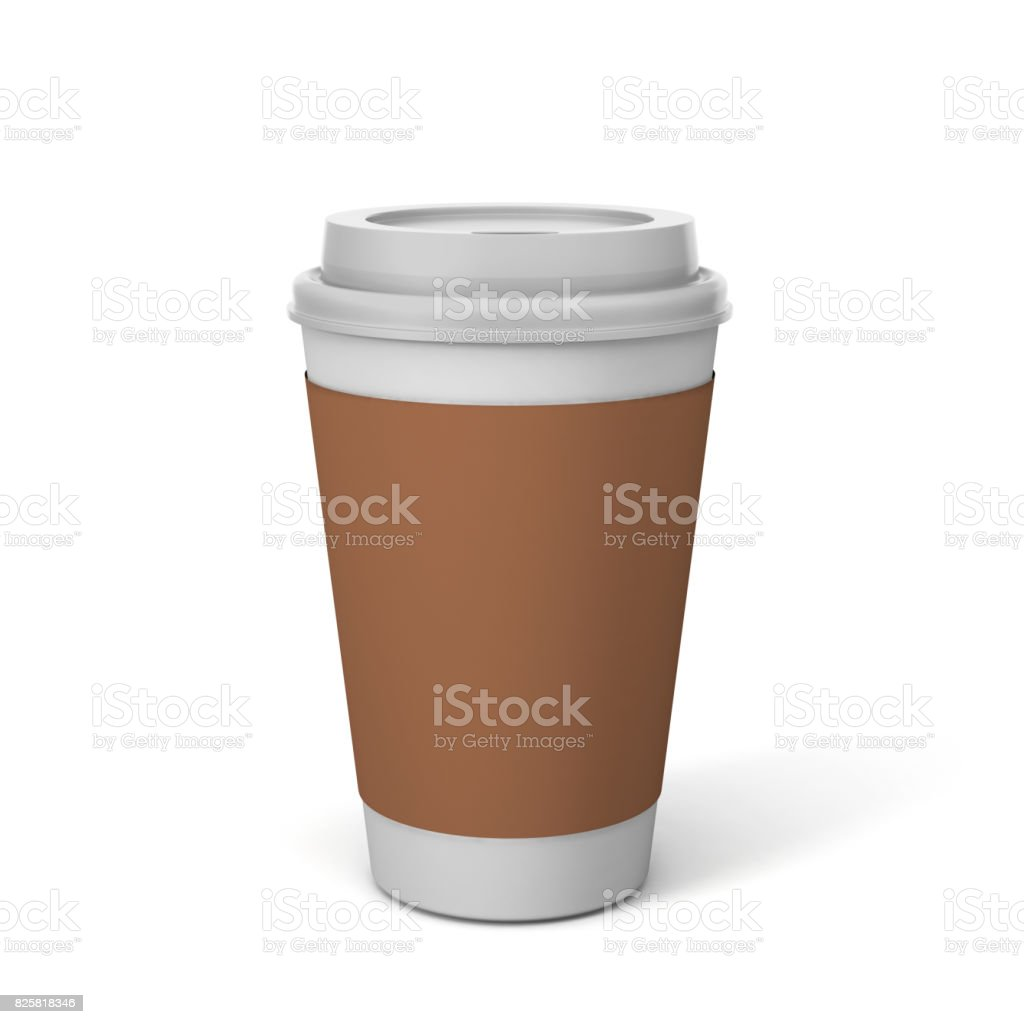 Blank White Disposable Coffee Cup Glass With Lid For Mock Up And Template Design