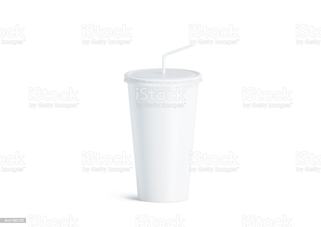 Blank white disposable cup straw mock up isolated royalty-free stock photo