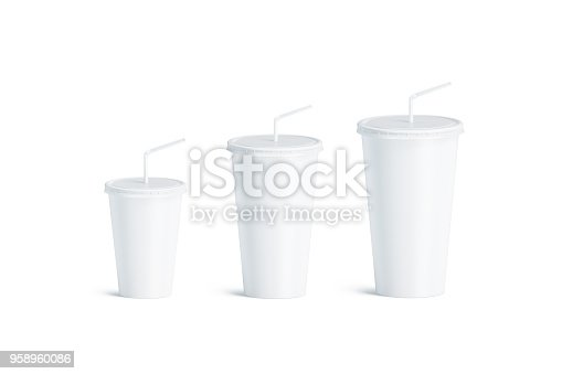 Blank white disposable cup with straw mock up set isolated, 3d rendering. Empty paper soda drinking mug mockup with lid and tube different sizes. Clear soft drink cola take away plastic package