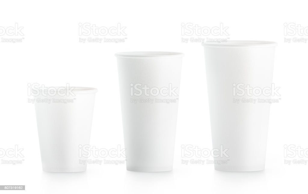 Blank white disposable paper cup mock ups isplated stock photo