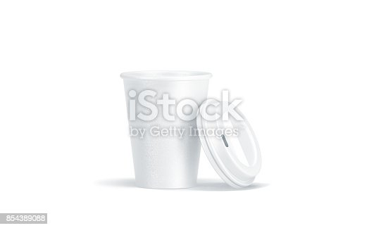 istock Blank white disposable paper cup with opened plastic lid 854389088