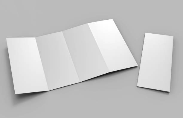 Blank White Double Parallel Fold Brochure For Mock up Design. 3D render illustration. Blank White Double Parallel Fold Brochure For Mock up Design. number 4 stock pictures, royalty-free photos & images