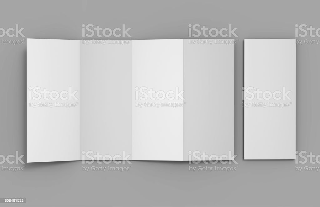 Blank White Double Parallel Fold Brochure For Mock up Design. 3D render illustration. stock photo