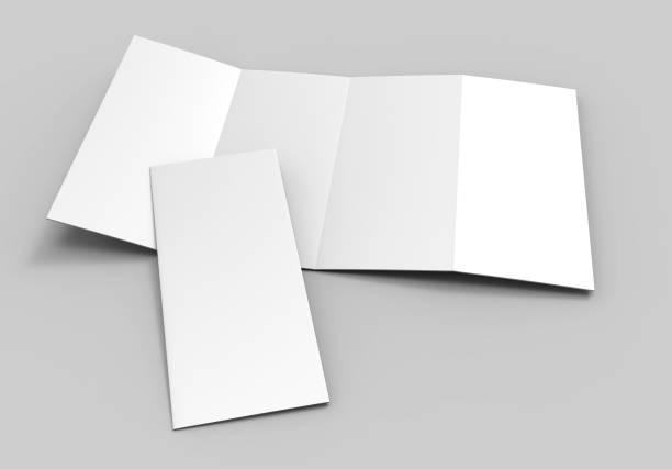 blanco wit dubbele parallelle vouw brochure voor mock up design. 3d render illustratie. - parallel stockfoto's en -beelden