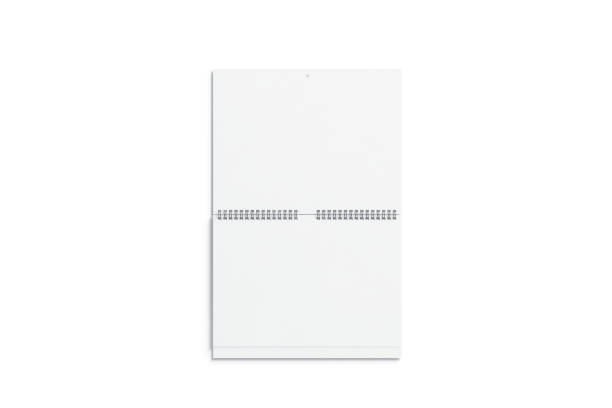 Blank white double wall calendar mock up front view Blank white double wall calendar mock up front view, 3d rendering. Empty two months almanac mockup with metal spirals. Portrait vertical calender template almanac stock pictures, royalty-free photos & images