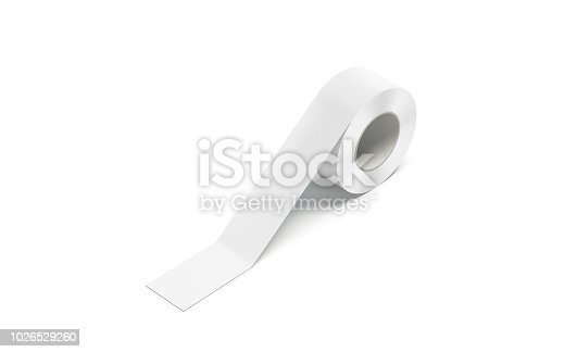 Blank white duct tape sticked mock up, isolated, 3d rendeing. Empty scotch roll mockup, side view. Sticking clear ashesive sticky taping template for packing