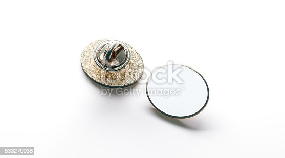 istock Blank white ellipse gold lapel badge mock up, front back 833270038