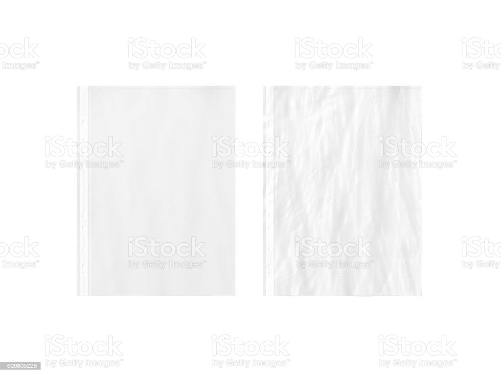 Blank white empty A4 transparent plastic sleeve mockup, plain, creased, stock photo