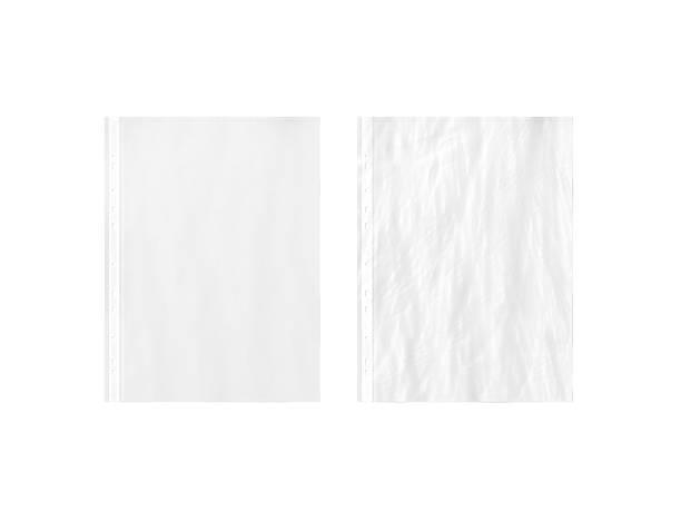 blank white empty a4 transparent plastic sleeve mockup, plain, creased, - indumento sportivo protettivo foto e immagini stock