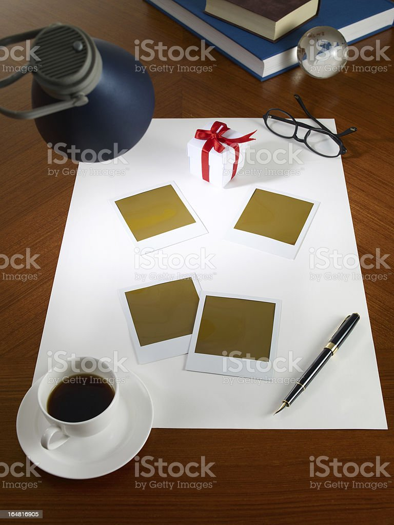 Blank White Empty Paper with Gift Box and Picture Frame stock photo
