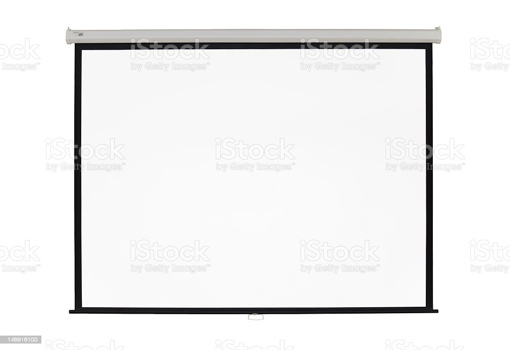 A blank white empty screen projector stock photo