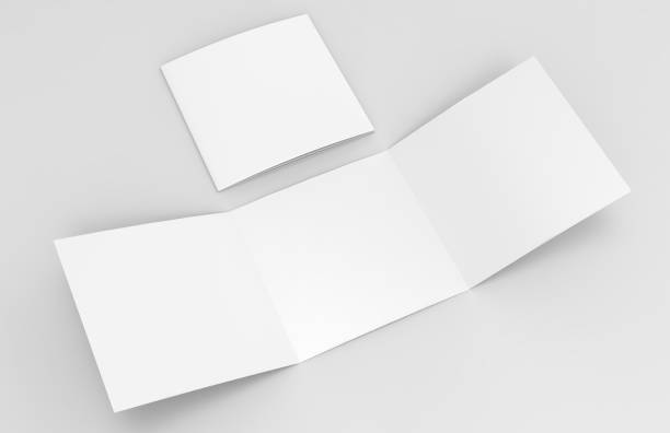 Blank white empty square tri fold catalogs brochure flyer, with clipping path, changeable background for mock up and template design. 3d render illustration. stock photo