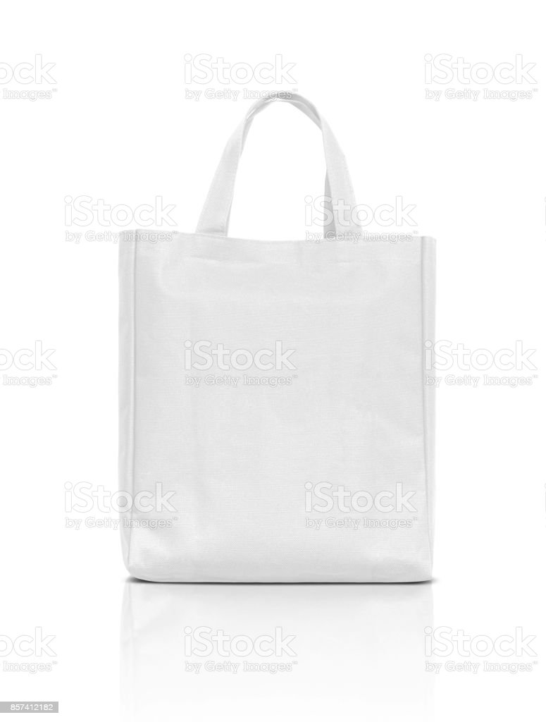 blank white fabric canvas bag for shopping isolated on white background - foto stock