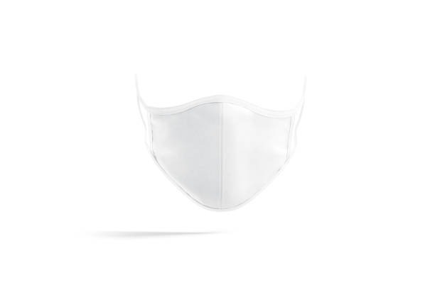 Blank white fabric face mask mock up, front view stock photo