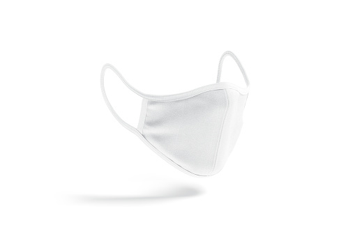 Blank white fabric face mask mockup, side view, no graity