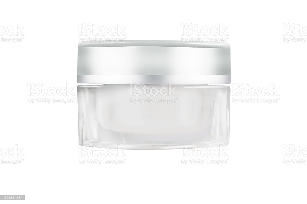Blank white facial cream jar isolate on white background stock photo