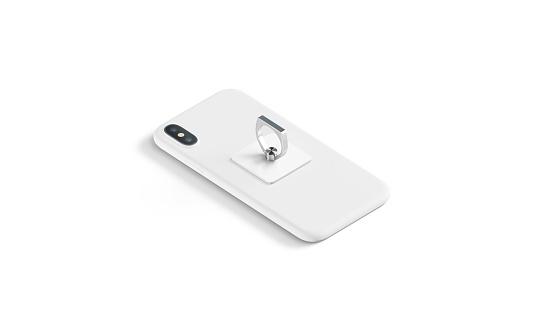 Blank white finger grip sticked on lying phone mockup,