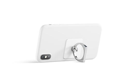 Blank white finger grip sticked on mobile phone mock up,