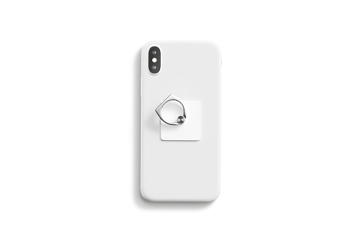 Blank white fingergrip sticked on cellphone mockup, isolated, top view