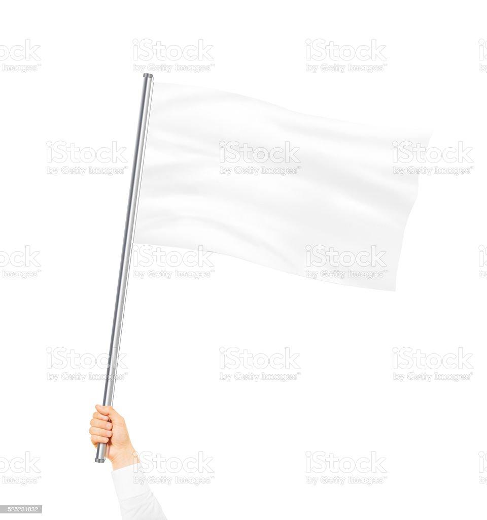 Bandeira de branco em branco de maquetes isolado segurando a mão - foto de acervo