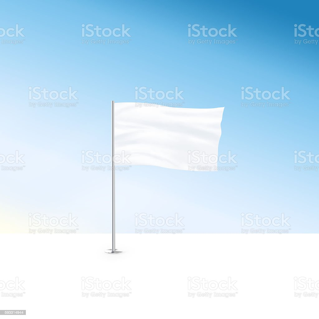 Blank white flag mock up stand at blue sky background stock photo