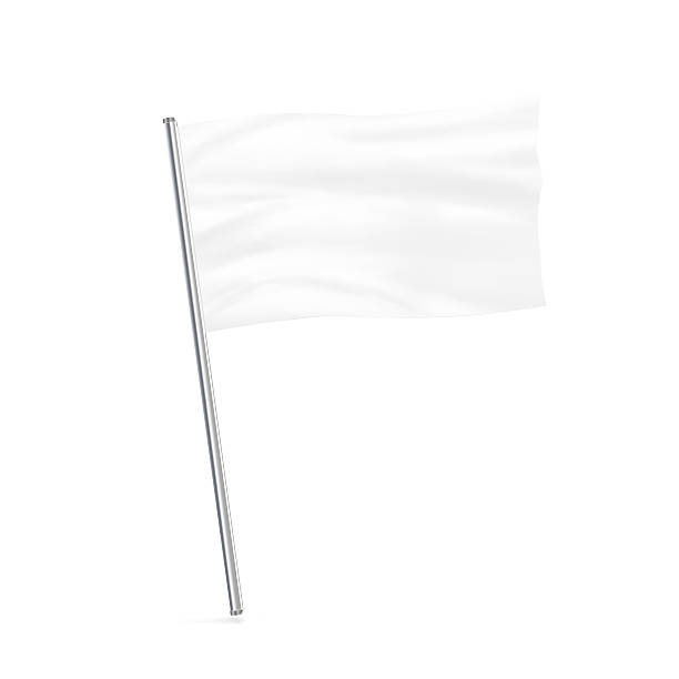 Blank white flag mock up stand isolated. - foto de stock