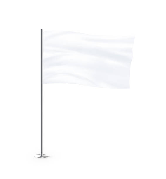 Blank white flag mock up stand Blank white flag mock up stand at white background isolated. Large wavy flagpole mockup ready for business logo design presentation. Surrender symbol empty banner. Clear standart sign. flagpole stock pictures, royalty-free photos & images