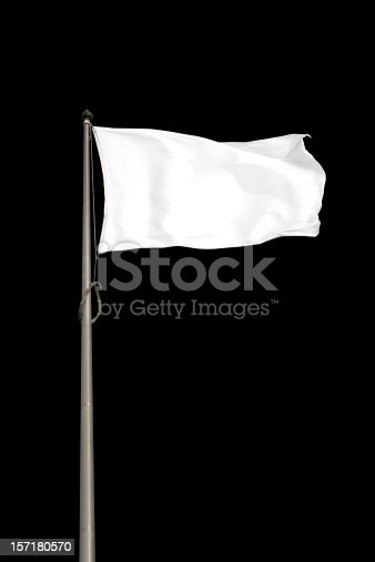 Blank white flag, isolated on black background. Clipping path included.