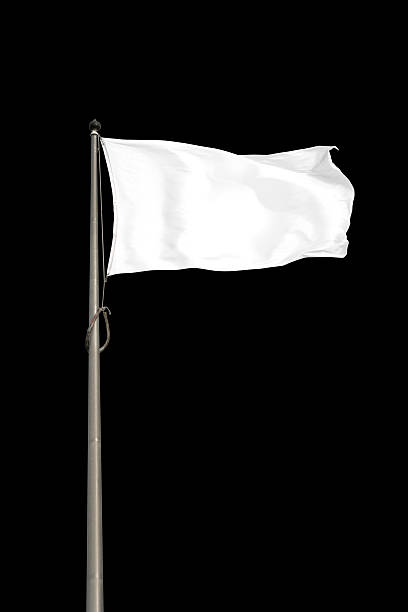 Blank White Flag Blank white flag, isolated on black background. Clipping path included. flags stock pictures, royalty-free photos & images