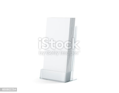 istock Blank white flyers stack mock up in glass plastic holder 655802254