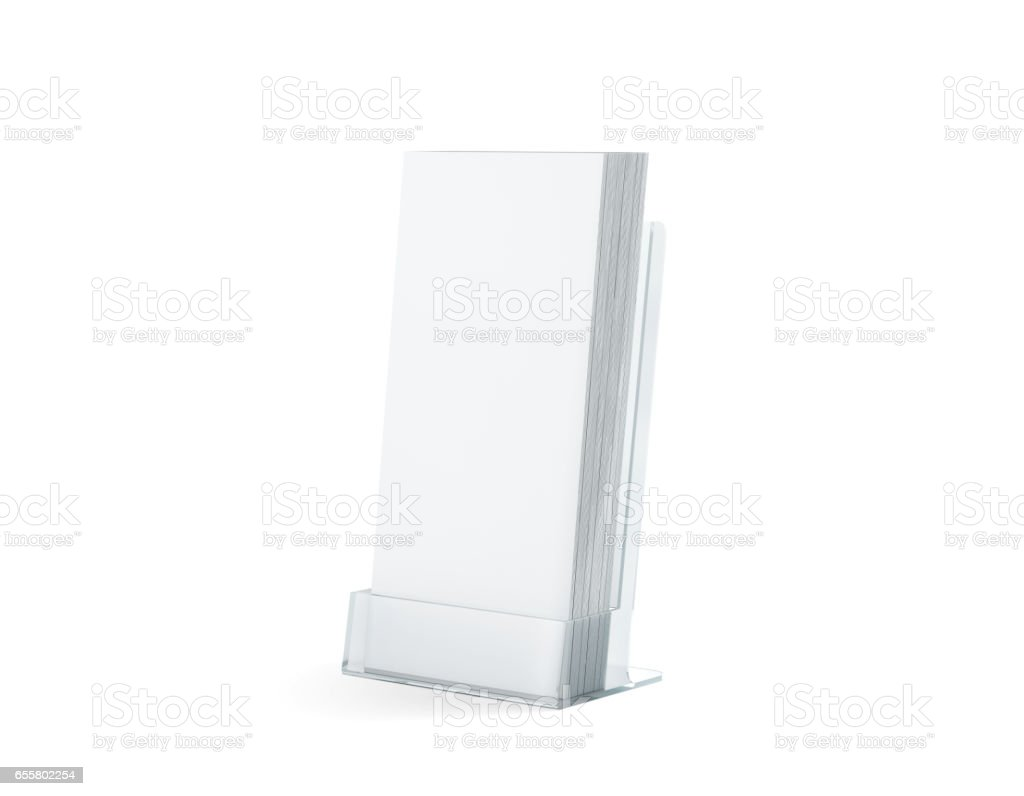 Blank white flyers stack mock up in glass plastic holder stock photo