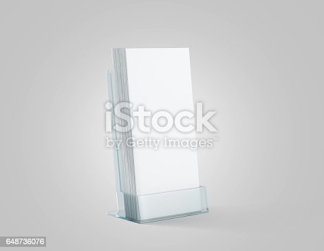 istock Blank white flyers stack mockup in glass plastic holder 648736076