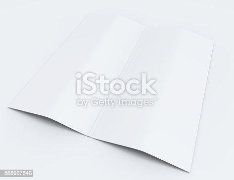 838254520 istock photo Blank white folding paper flyer. 588967546