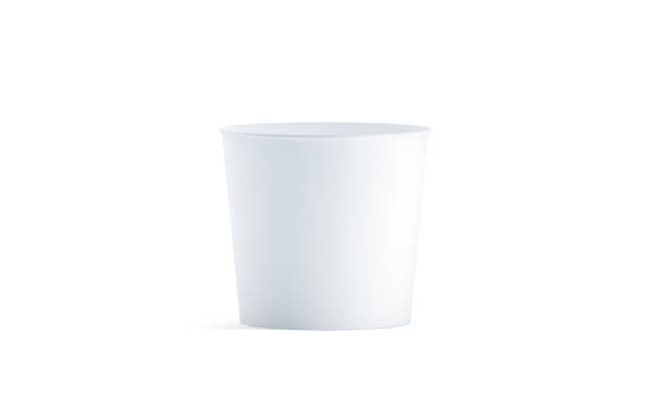 Blank white food bucket mockup isolated Blank white food bucket mockup isolated, 3d rendering. Empty pail fastfood front side view. Paper chicken bucketful design mock up. Clear popcorn box template. bucket stock pictures, royalty-free photos & images