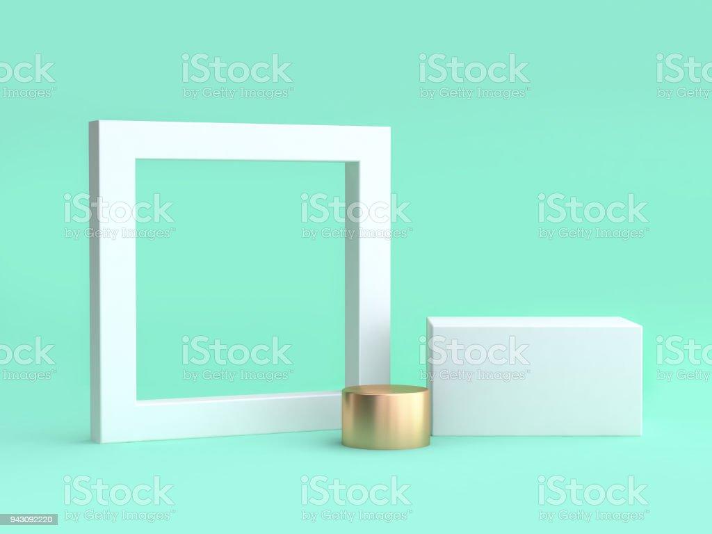 blanc cadre blanc et le fond vert carré minimum rendu 3d photo libre de droits