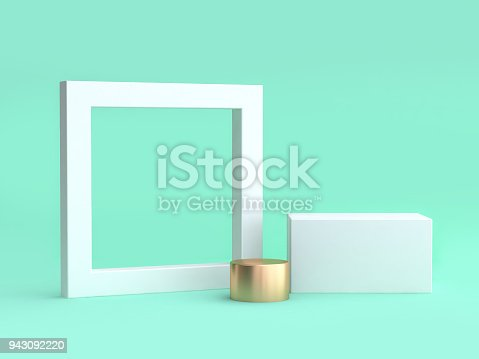 istock blank white frame and square minimal green background 3d rendering 943092220