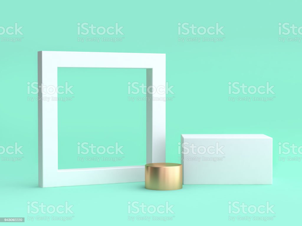blank white frame and square minimal green background 3d rendering stock photo