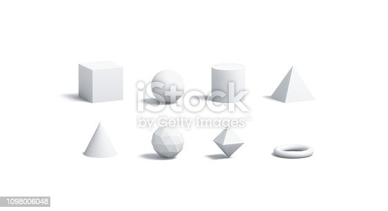 istock Blank white geometric shapes mock up set, isolated 1098006048