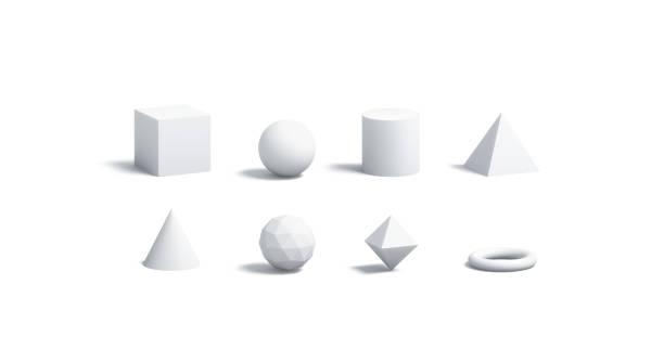 空白の白色に幾何学的図形のモックアップを分離したセット - 3d ストックフォトと画像