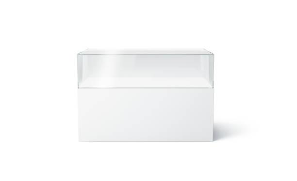Vitrine d'expo de verre blanc vierge mock up, isolé - Photo